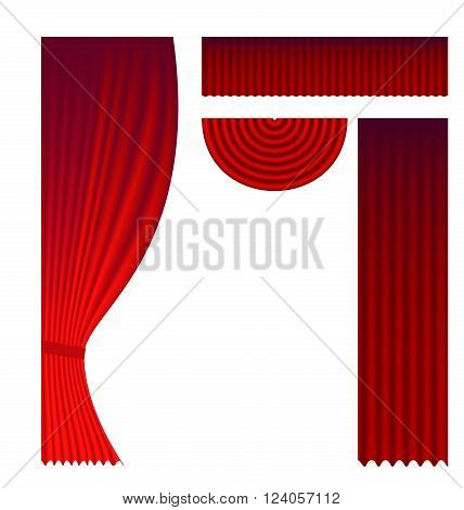 Set of theater curtains clip arts for design of cards, invitations and announcements