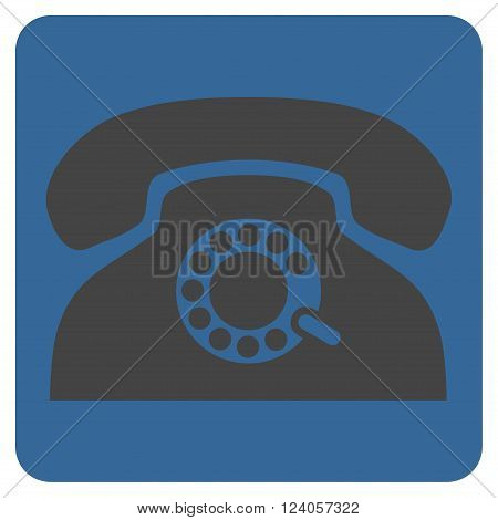 Pulse Phone vector icon symbol. Image style is bicolor flat pulse phone iconic symbol drawn on a rounded square with cobalt and gray colors.