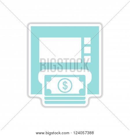 paper sticker on white  background ATM money