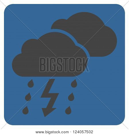 Thunderstorm vector symbol. Image style is bicolor flat thunderstorm icon symbol drawn on a rounded square with cobalt and gray colors.