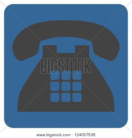 Tone Phone vector symbol. Image style is bicolor flat tone phone pictogram symbol drawn on a rounded square with cobalt and gray colors.
