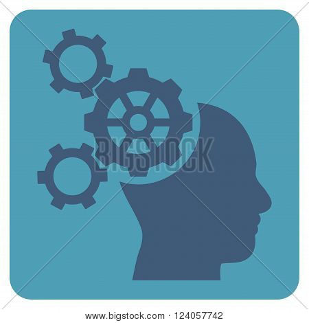 Brain Mechanics vector pictogram. Image style is bicolor flat brain mechanics iconic symbol drawn on a rounded square with cyan and blue colors.