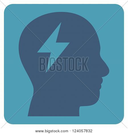 Brainstorming vector icon symbol. Image style is bicolor flat brainstorming iconic symbol drawn on a rounded square with cyan and blue colors.
