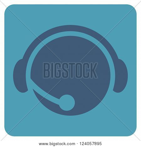 Call Center Operator vector pictogram. Image style is bicolor flat call center operator iconic symbol drawn on a rounded square with cyan and blue colors.