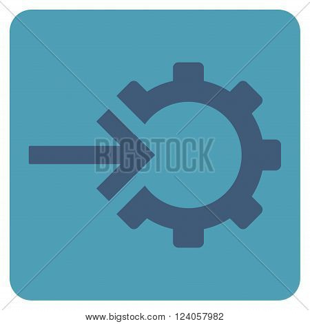 Cog Integration vector pictogram. Image style is bicolor flat cog integration iconic symbol drawn on a rounded square with cyan and blue colors.
