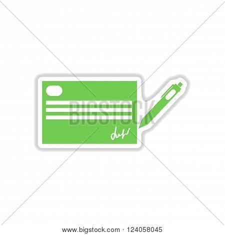 paper sticker on white  background cash a check