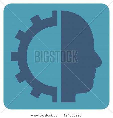 Cyborg Gear vector icon. Image style is bicolor flat cyborg gear icon symbol drawn on a rounded square with cyan and blue colors.