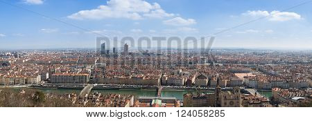 Panoramic view of the city of Lyon France.