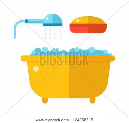 Bath foam, soap, shower and bath yellow retro style cartoon vector. Beautiful bath with shower and soap cartoon flat vector illustration.