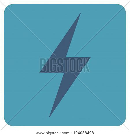 Electricity vector pictogram. Image style is bicolor flat electricity iconic symbol drawn on a rounded square with cyan and blue colors.