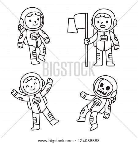 Cute cartoon astronaut set. Cartoon astronaut boy in different poses floating in space holding flag and as dead skeleton.