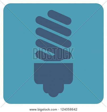 Fluorescent Bulb vector icon. Image style is bicolor flat fluorescent bulb pictogram symbol drawn on a rounded square with cyan and blue colors.