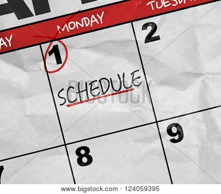 Concept image of a Calendar with the text: Schedule