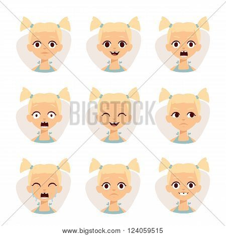 Girl emotions avatar face feelings and cartoon girl emotions vector illustration. Smiley icons set of cute girls with different emotions vector illustration.