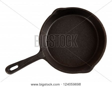 Small cast-iron pan isolated on white, top view