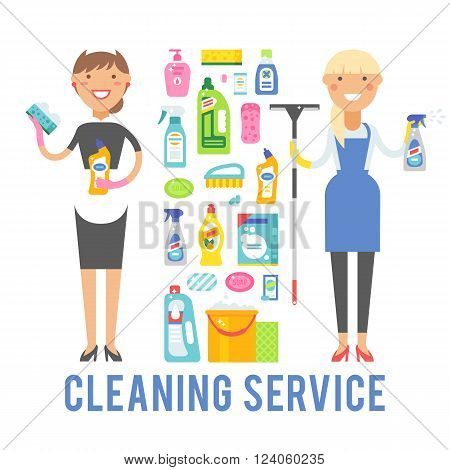 Cleaning service icons and two women cleaning service worker holding equipment. Young smiling cleaner woman service vector isolated over white background.
