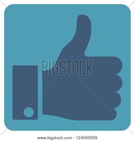 Thumb Up vector icon. Image style is bicolor flat thumb up icon symbol drawn on a rounded square with cyan and blue colors.