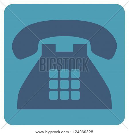 Tone Phone vector pictogram. Image style is bicolor flat tone phone icon symbol drawn on a rounded square with cyan and blue colors.