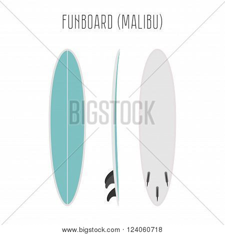 Vector surf fun board with three sides. Blank template. Three projections