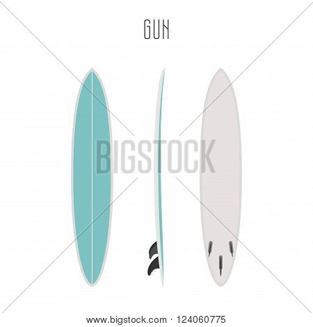 Vector surf gun board with three sides. Blank template. Three projections