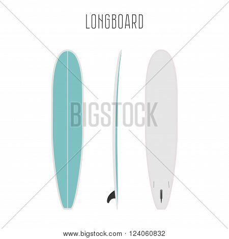 Vector surf long board with three sides. Blank template. Three projections