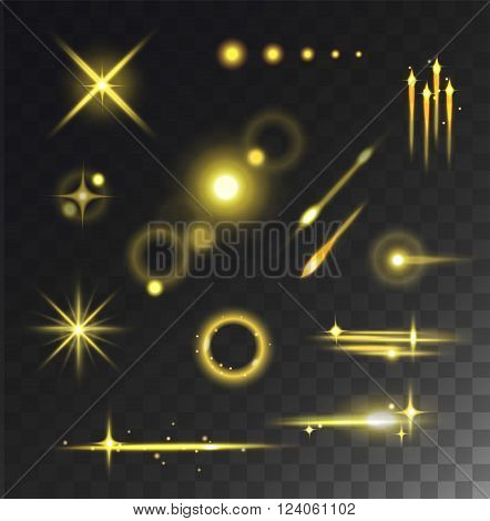 Glare and glow sparkle, glare and glow effect vector. Glowing lights stars glare and glow isolated vector on black transparent background.