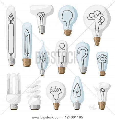Creative idea inspiration lamps vector and solution creative idea lamps icon set. Creative idea lamps vector illustration.