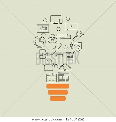 Vector modern thin line flat design of icons set. Business development, seo optimisation idea background