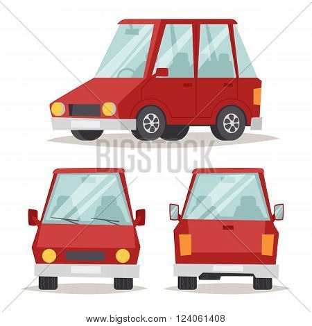 Sedan red car design and red car shiny technology style vector. Generic red car luxury design flat vector illustration isolated on white.