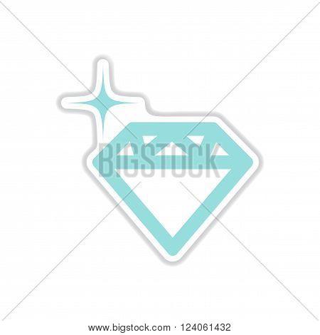 realistic paper sticker on white  background diamond