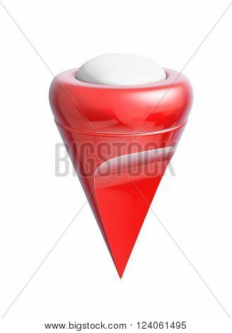 Red map pointer isolated on white 3d rendering