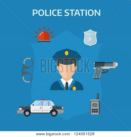 Police equipment symbols and police protection symbols design. Security elements of the police equipment symbols vector icons.