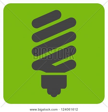 Fluorescent Bulb vector symbol. Image style is bicolor flat fluorescent bulb iconic symbol drawn on a rounded square with eco green and gray colors.