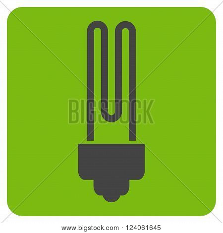 Fluorescent Bulb vector icon. Image style is bicolor flat fluorescent bulb iconic symbol drawn on a rounded square with eco green and gray colors.
