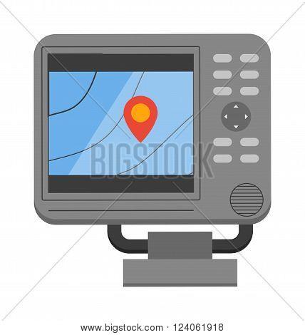 Car navigator mobile gps navigation vector flat illustration and echnology on the road car navigation. Car electronic device navigator, navigation sistem.