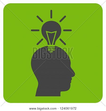 Genius Bulb vector icon symbol. Image style is bicolor flat genius bulb iconic symbol drawn on a rounded square with eco green and gray colors.