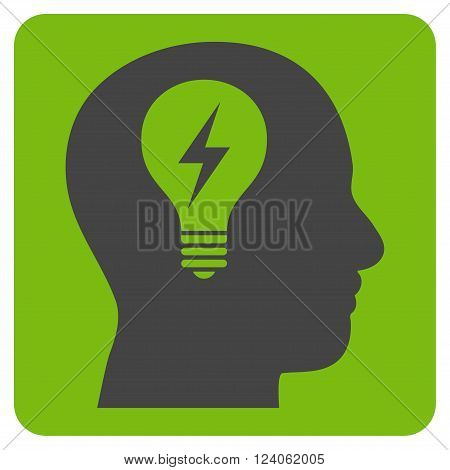 Head Bulb vector icon symbol. Image style is bicolor flat head bulb icon symbol drawn on a rounded square with eco green and gray colors.