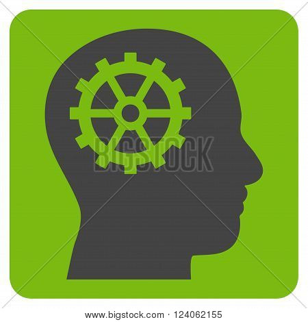 Intellect vector symbol. Image style is bicolor flat intellect iconic symbol drawn on a rounded square with eco green and gray colors.
