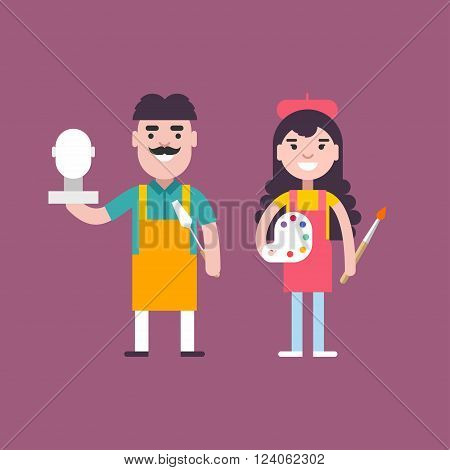 Male and Female Cartoon Character Sculptor and Painter. People Profession Concept. Vector Illustration in Flat Design