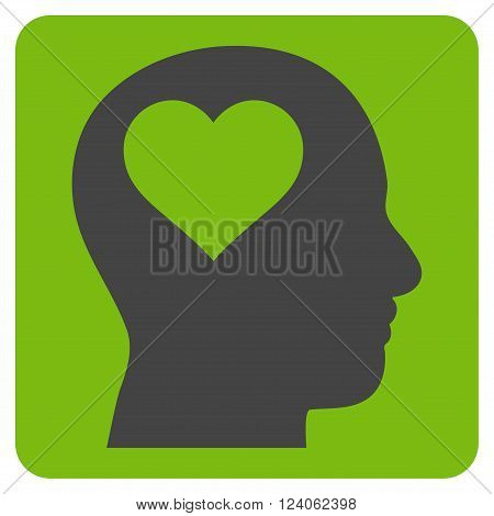 Lover Head vector icon. Image style is bicolor flat lover head pictogram symbol drawn on a rounded square with eco green and gray colors.
