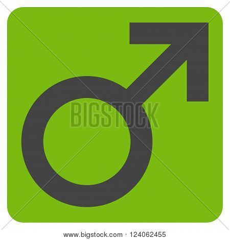 Male Symbol vector symbol. Image style is bicolor flat male symbol icon symbol drawn on a rounded square with eco green and gray colors.