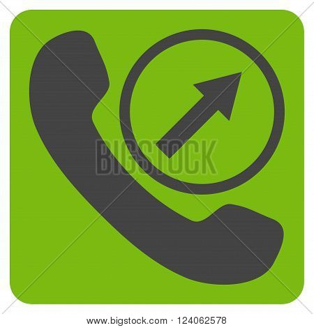 Outgoing Call vector pictogram. Image style is bicolor flat outgoing call iconic symbol drawn on a rounded square with eco green and gray colors.