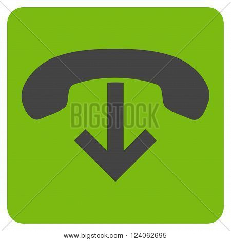Phone Hang Up vector pictogram. Image style is bicolor flat phone hang up iconic symbol drawn on a rounded square with eco green and gray colors.