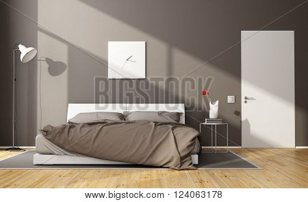 Brown modern bedroom with white double bed and closed door - 3D Rendering