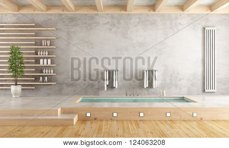 Minimalist bathroom with sunken bathtub on cement platform - 3D Rendering