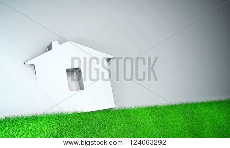 Home symbol with grass on grey background 3d model