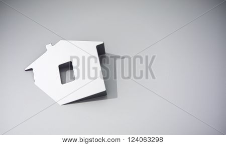 Home symbol on grey background 3d rendering