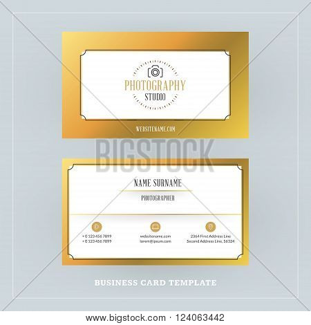 Golden And Black Business Card Design Template. Business Card For Photographer Or Graphic Designer.