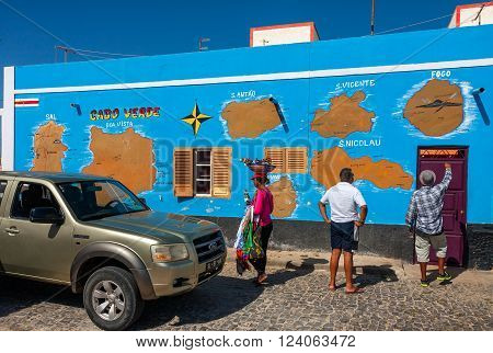 PALMEIRA, CAPE VERDE - DECEMBER 12, 2015: Cabo Verde map on a wall in Palmeira. Tourists checking the route