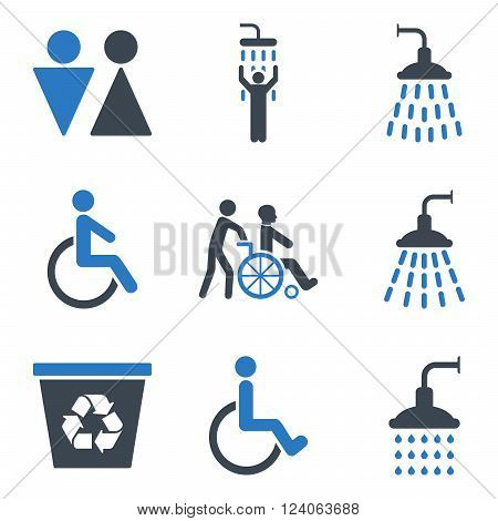 Toilet and Shower vector icon set. Style is bicolor smooth blue flat symbols isolated on a white background.